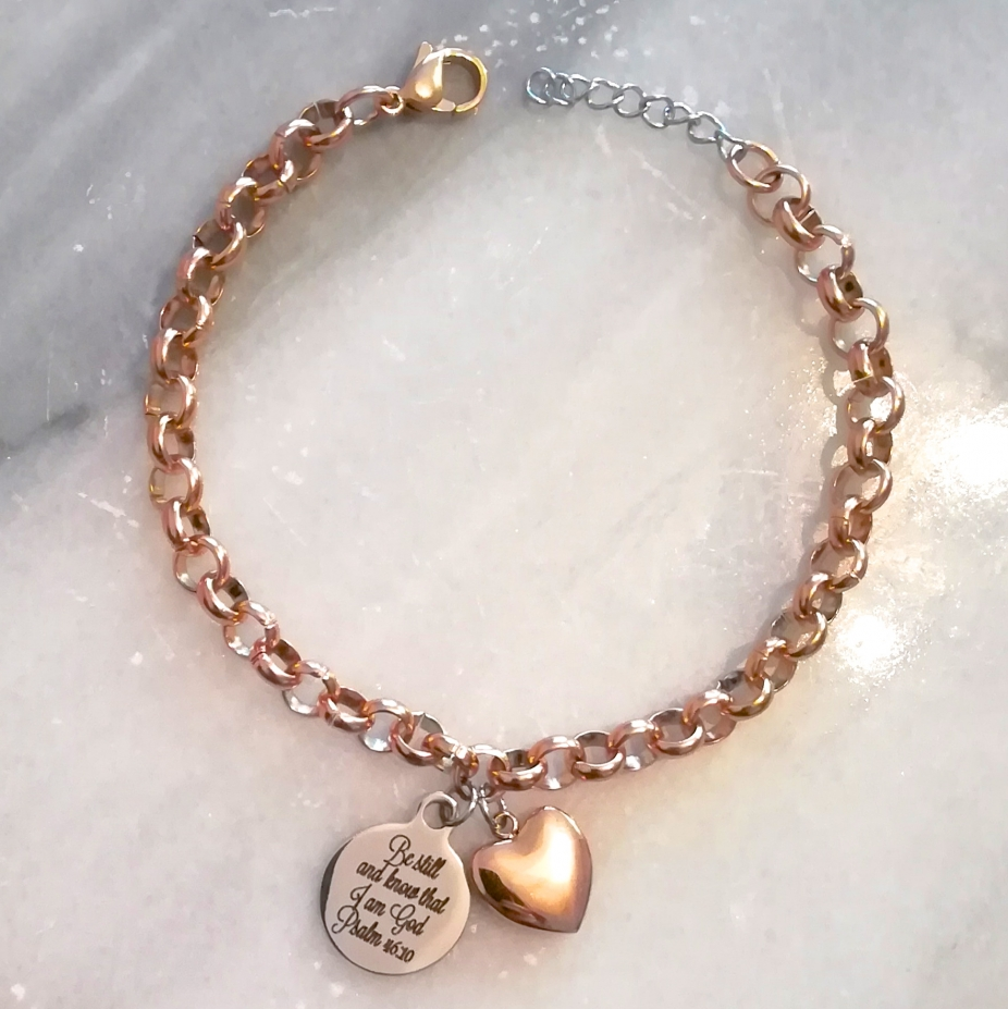 9913f96ab66c4 Rose Gold Mixed Metal Christian bible verse heart charm bracelet