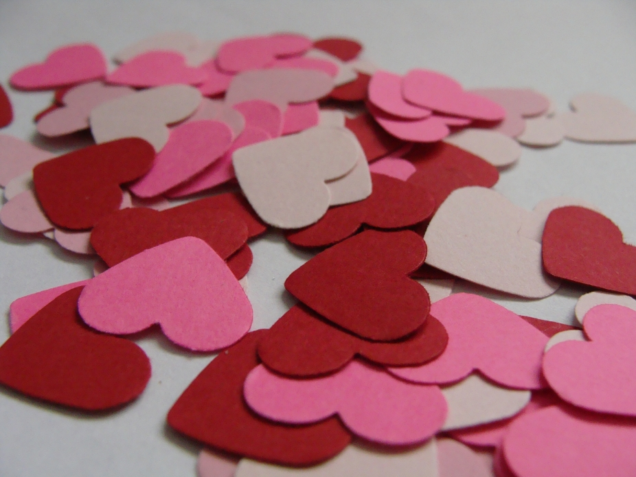 Pink And Red Heart Confetti Wedding Table Decor Party