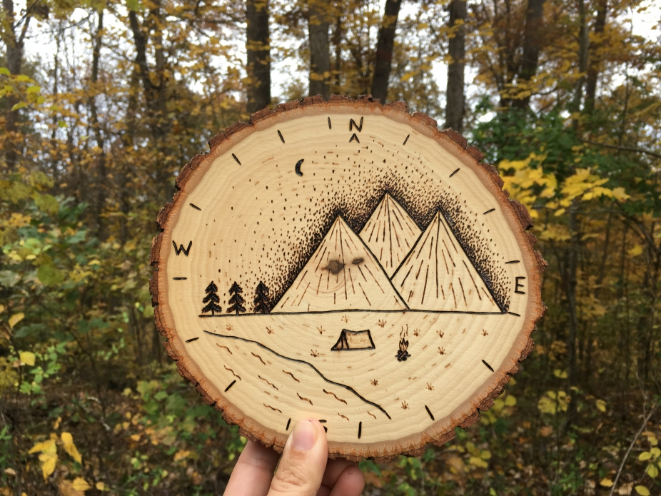 Compass Wood Signs Woodland Wall Signs Mountain Scene Decor