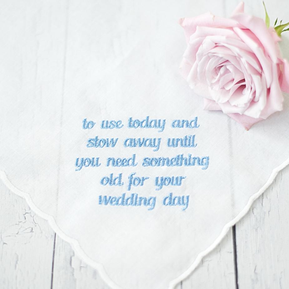 Flower Girl Handkerchief Embroidered, Heirloom Gift