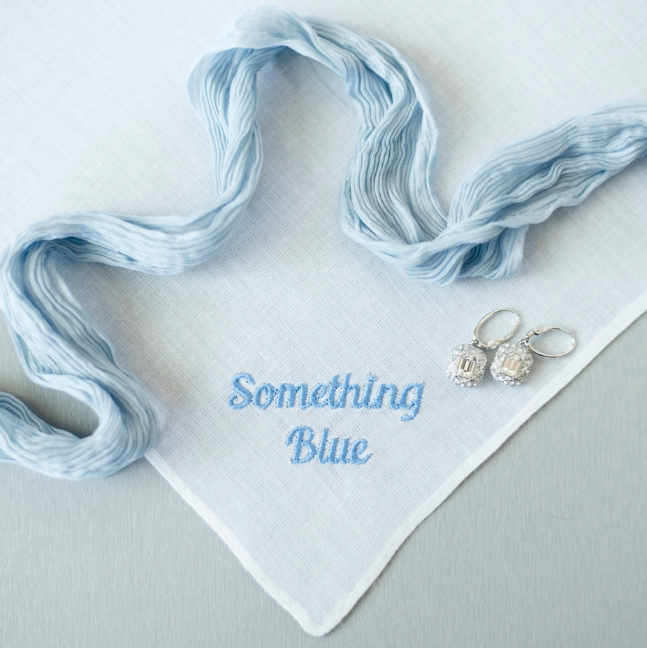 Gift For Bride On Wedding Day: Something Blue For Bride Wedding Handkerchief, Wedding Day
