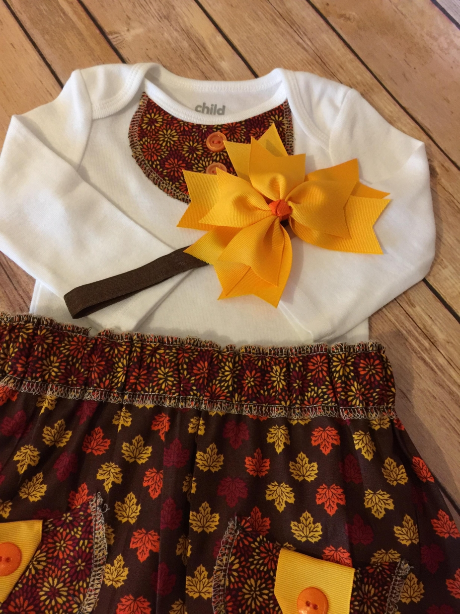 3 6 Month Skirt And Onsie Set With Matching Headband Bow