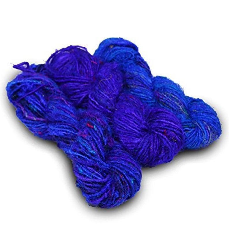 15 Yards Recycled Sari Silk Yarn - 5 colors 75 Yds | Sample card