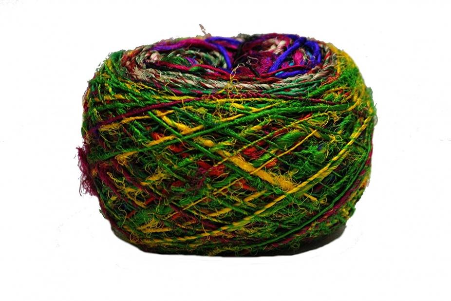 hand dyed Kohinoor Recycled Sari Silk Yarn- Multicolor 100 Grams