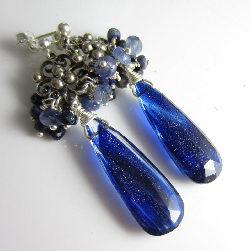 Glitz Glam Blue Diamontrigue Jewelry: Midnight Glitter Earrings