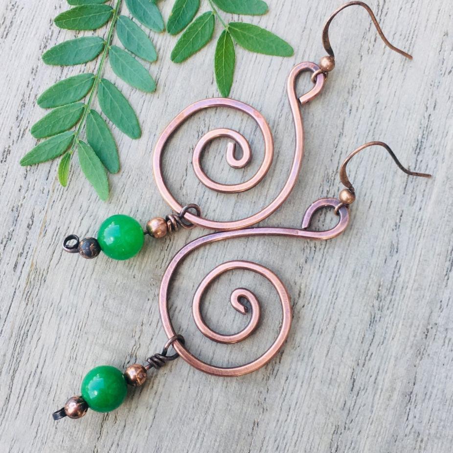 Copper And Jade Beaded Swirl Dangle Earrings By