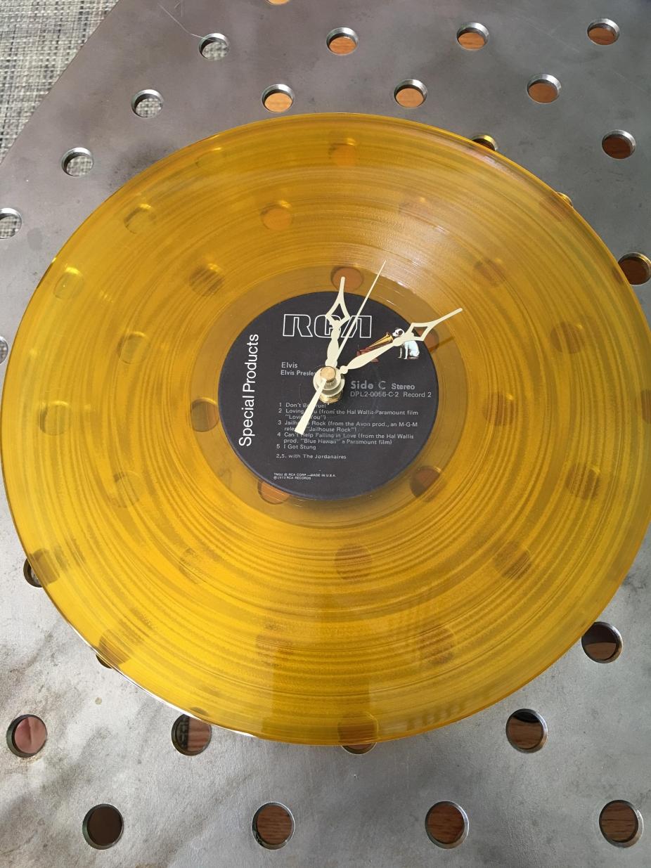 Elvis Presley Genuine Vinyl Gold Lp Record Clock By Neilzoid
