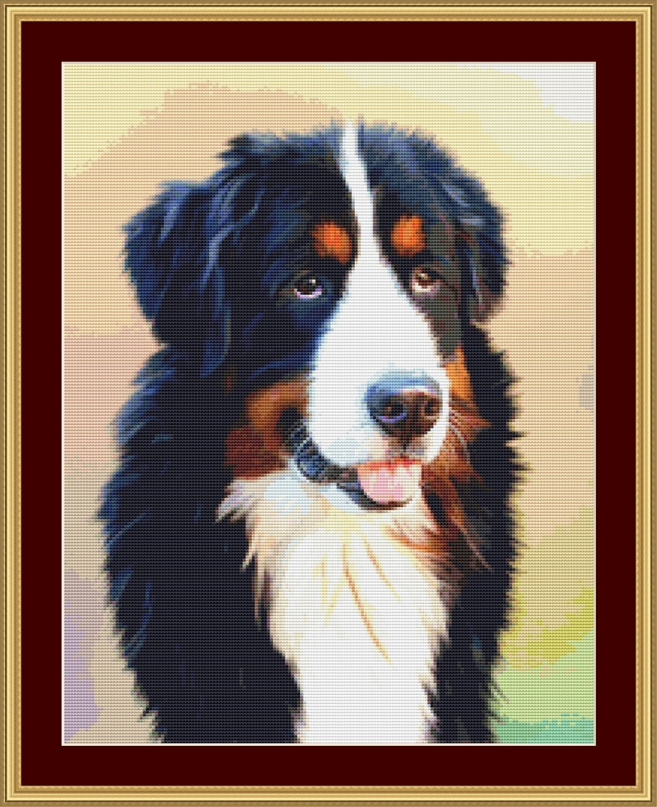 All materials included BERNESE MOUNTAIN DOG ~ Full counted cross stitch kit