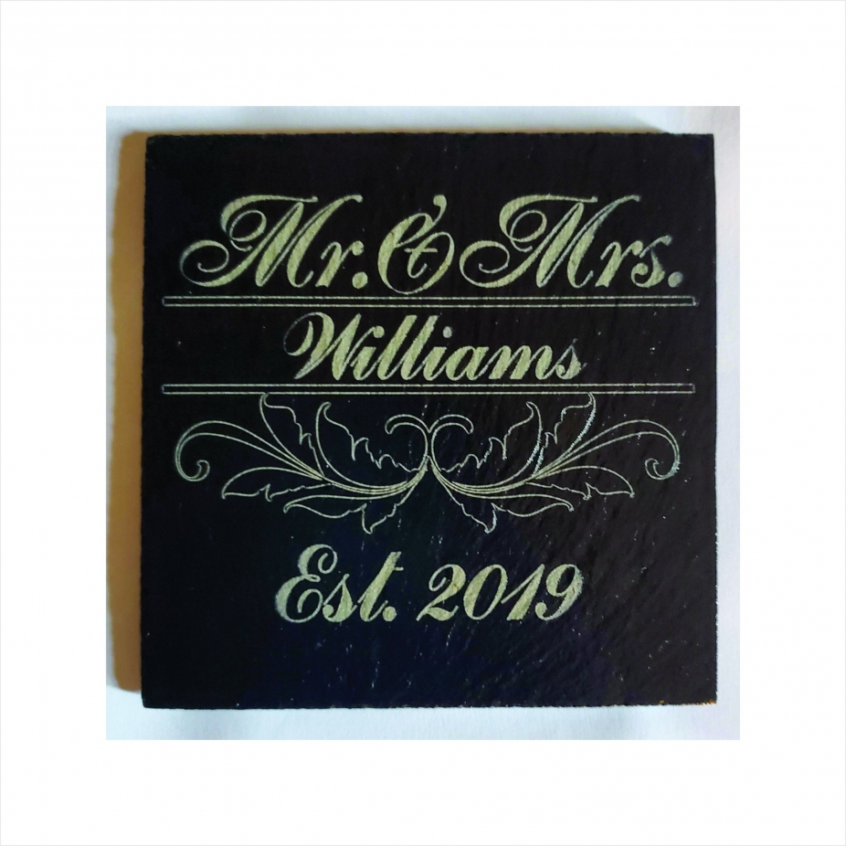 Personalised Engraved Set of 4 Natural Slate Mr /& Mrs Coasters Wedding Gift