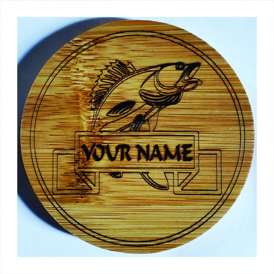 Coasters Bamboo Personalized Set Of 4 Fishing Laser Engraved