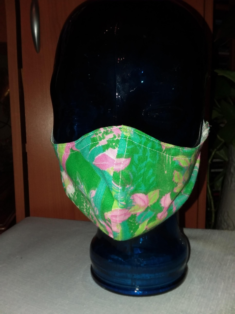 Fabric Face Mask: Face Mask-1 Adult Pink & Green, Reusable, Double Layered