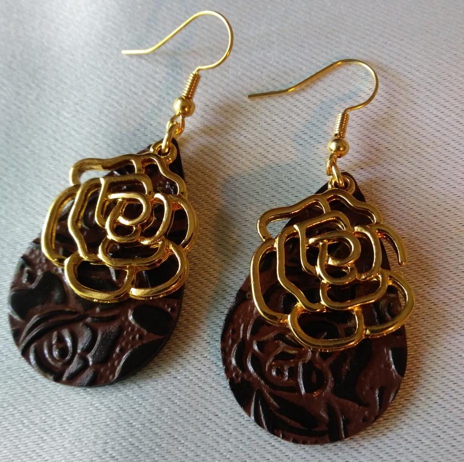 Leather Rose Earrings By Fleurtoria, Earrings On