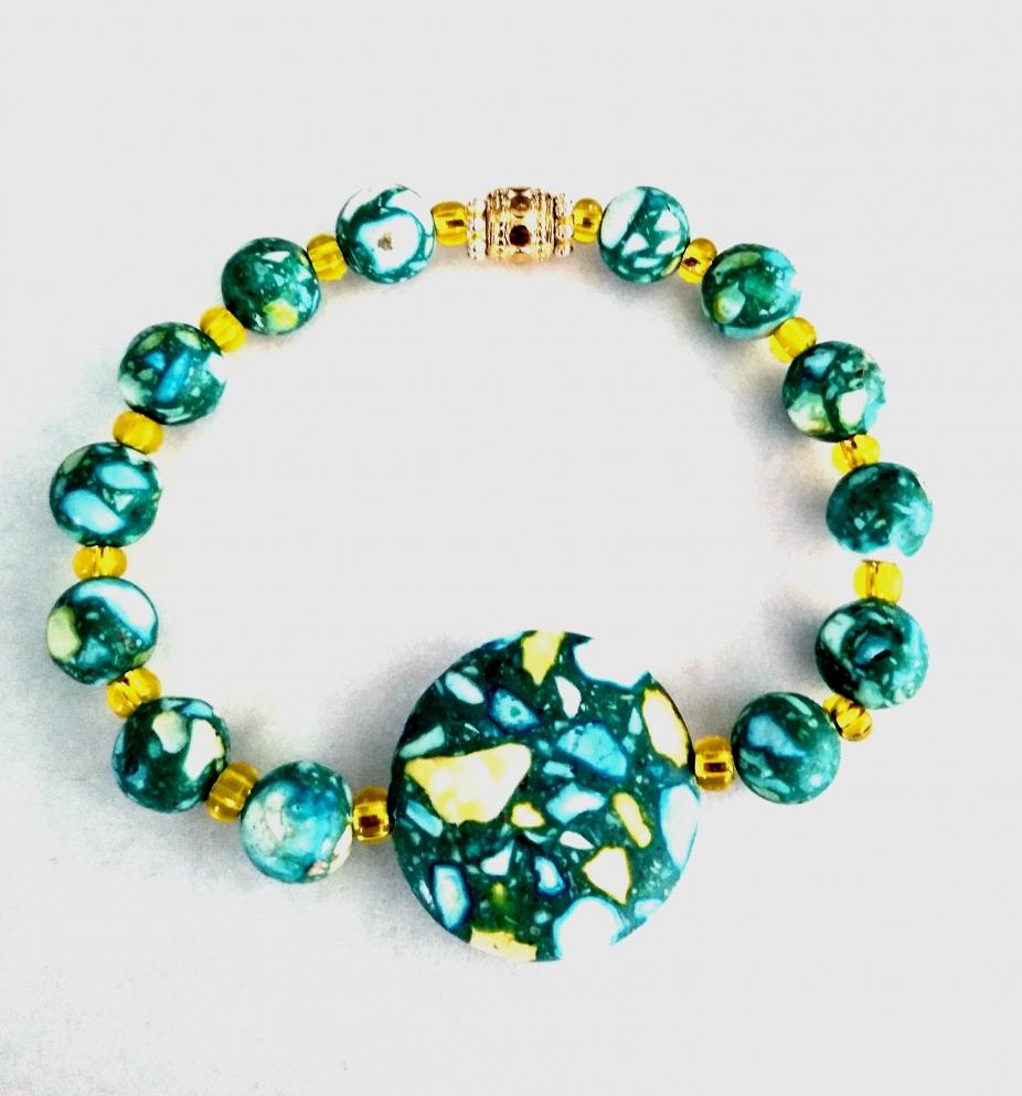 Multicolored Howlite Beaded Bracelet
