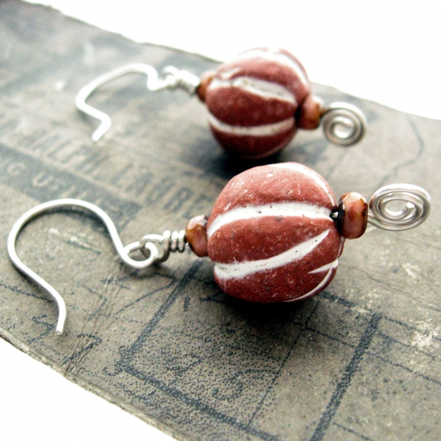 6932cb121 Earthy Earrings with Vintage Terra Cotta Beads and Sterling Silver ...