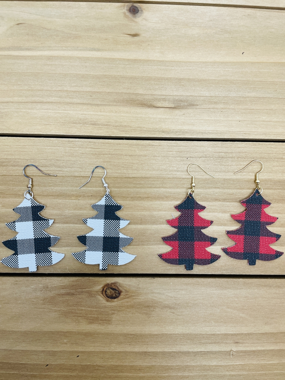 Buffalo Check Christmas Tree Leather Earrings By Dangle And Drop
