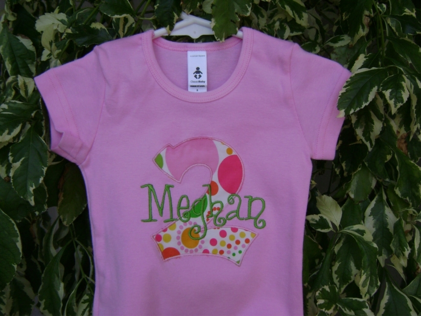 Personalized Appliqued Monogram Birthday Tee Shirt
