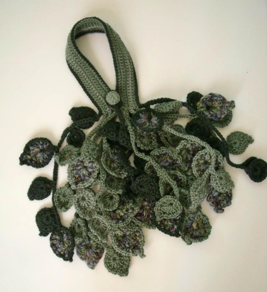 Pdf Pattern Crochet Leaf Scarflette Or Necklace No 1 By Fibreromance
