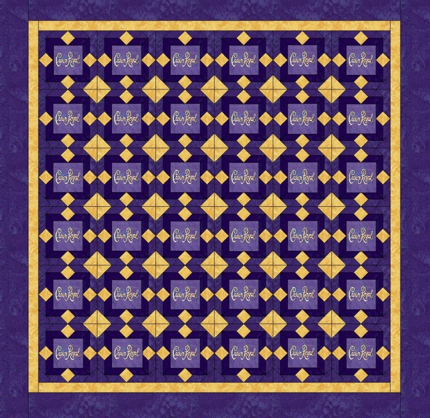 Crown Royal Quilt Made W Crown Royal Bags Free Embroidery
