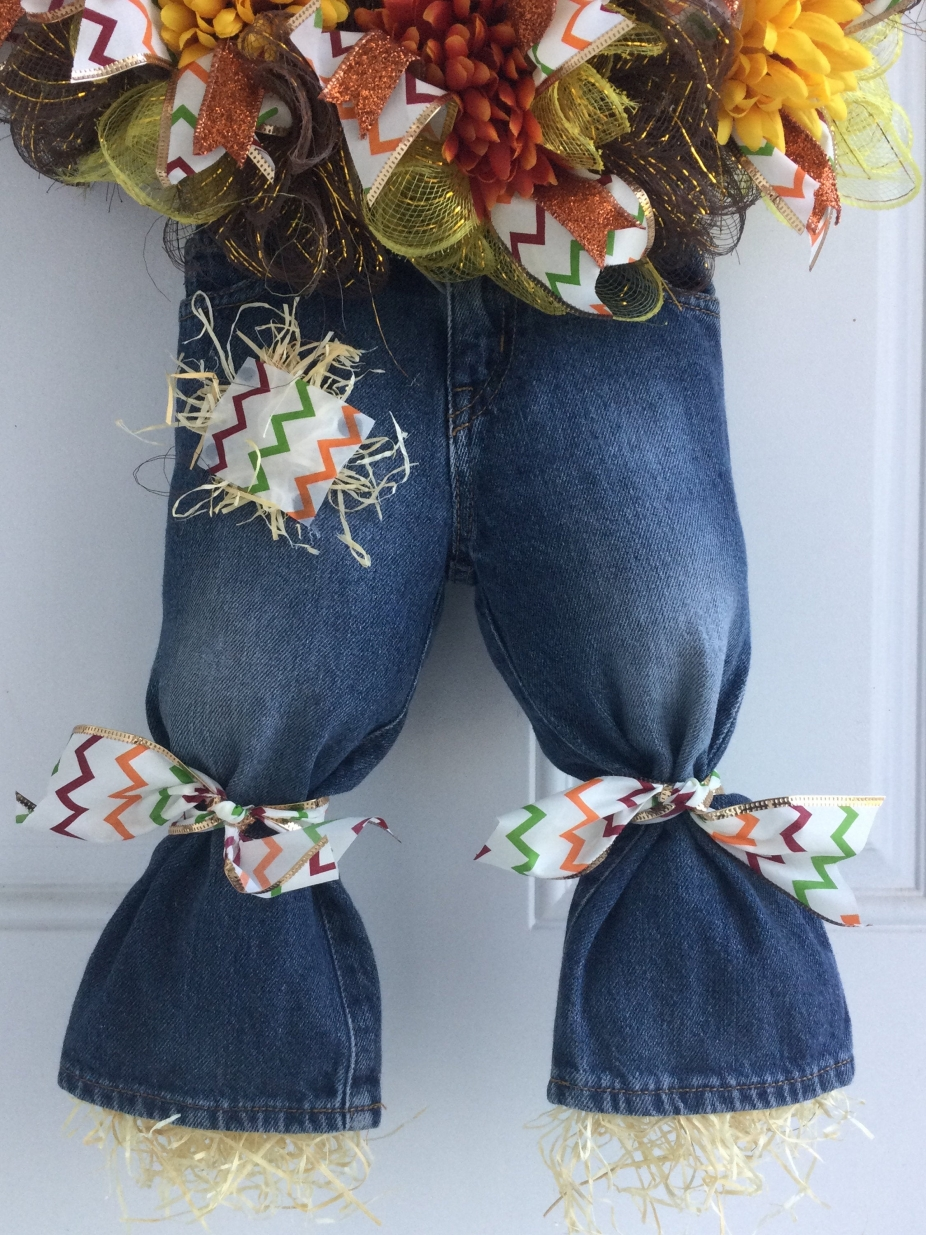 Fall Scarecrow Wreath With Hat And Jeans By Sandys Wreath Boutique