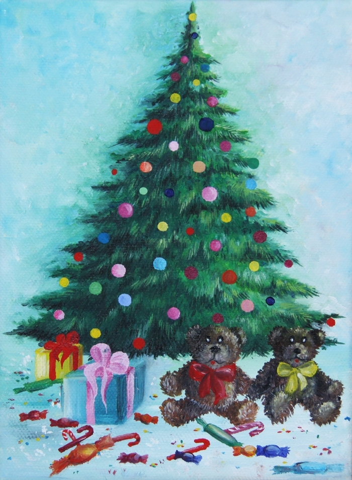 Acrylic Christmas Tree Painting.Christmas Tree With Gifts Acrylic Painting On Canvas
