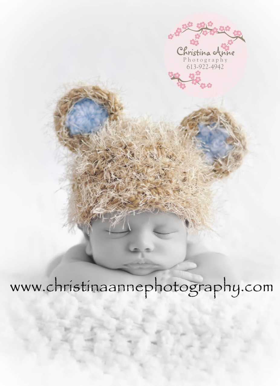 Knit baby bear beanie hat for newborn infant photography 95cddc4e1a3