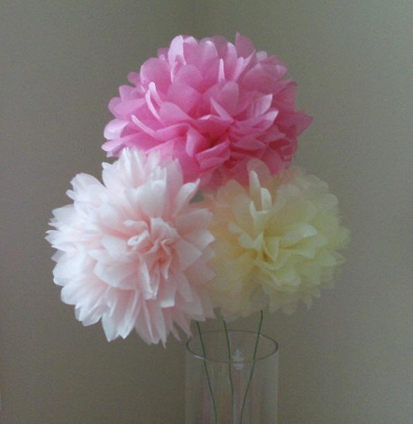 12 tissue paper flower pom poms you pick colors mightylinksfo