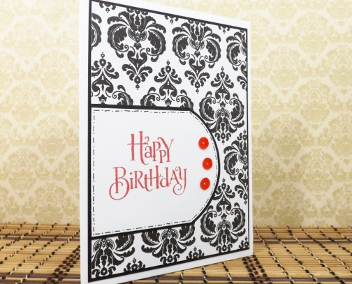 Elegant birthday greeting card in black white and red m4hsunfo