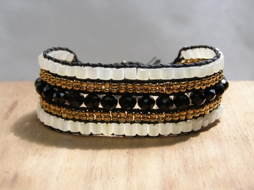 Cleo Cuff Hand Beaded Bracelet Black Gold White Vegan Jewelry Bead Weaving Birthday Gift Gifts For Her Boho Chic Professional