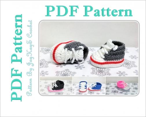 6649810a6d3b Converse Shoe Pattern Crochet Baby Sock Monkey Sneaker