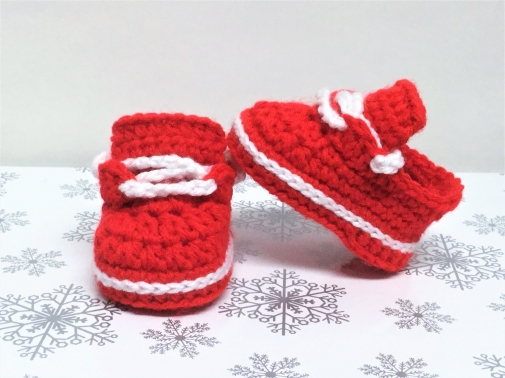Crochet Baby Girl Shoes Newborn Sneakers Red White Booties