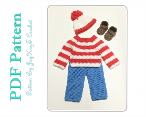 7da09260b Crochet Pattern Waldo Outfit Costume Diaper Set Pattern