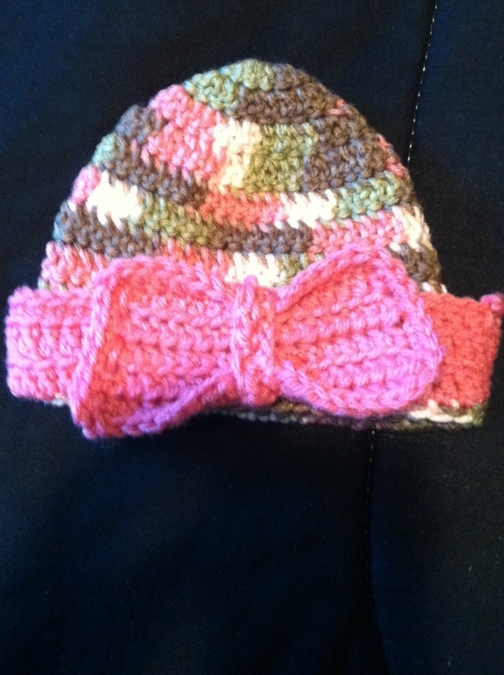 Crocheted Baby Hat With Pink Bow 0 3 Months By Gould Style Crochet