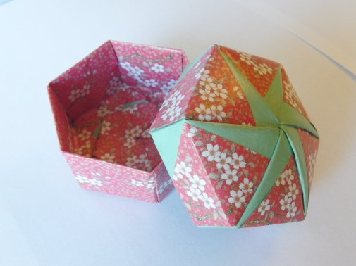Origami Box Red With White Flowers Light Green By Foldiction