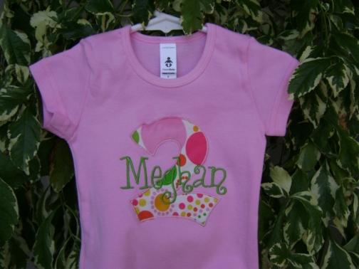 Personalized Appliqued Monogram Birthday Tee Shirt