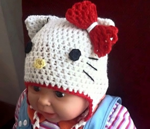 Hello Kitty Hat Crochet Pattern All Sizes Beanie And Earflap