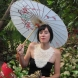 Lace Bib on Model in garden