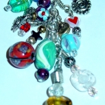 Glass Beaded Charm on Chain With Heavy Duty Clip
