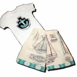 Half Pints - Shorts for your Shorty - Nautical Blueprint SET with Onesie or Tee