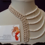 Mother of pearls and silver beads assymetric necklace