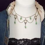 Made with Malachite beads and pweter chains