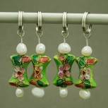 Green Bow Tie Cloisonne Stitch Markers with Freshwater Pearl
