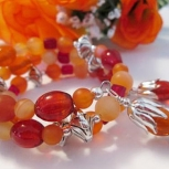 Carnelian Gemstone Wrap Around Bracelet, Memory Wire
