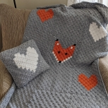Heart and Fox Baby Afghan and Heart Pillow