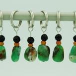 Black Onyx and Green Gemstone Stitch Marker