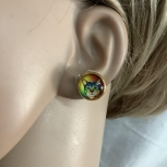 Gold Multicolor cat stud earrings free shipping 5