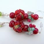 Beautiful Ruby and Lampwork Earrings