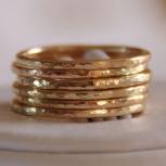 Set of 7 handmade hammered 14k gold filled wedding bands