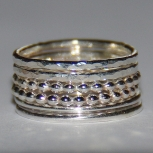 Handmade beaded dotted hammered and smooth sterling silver stackable rings