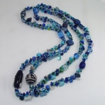 Spiral rope necklace/Blue Mix