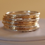 Set of 9 handmade silver and gold filled stackable rings